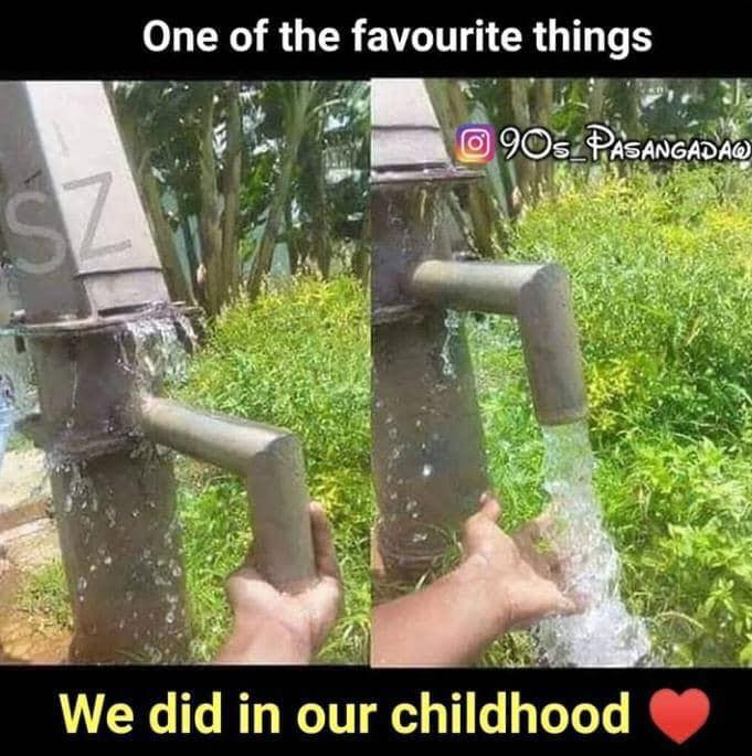 90s kids fun with water pump